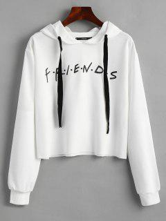 Drawstring Loose Letter Cropped Hoodie - White S