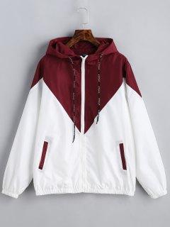 Zweifarbiger Hoodie Windjacke - Rot & Weiß S