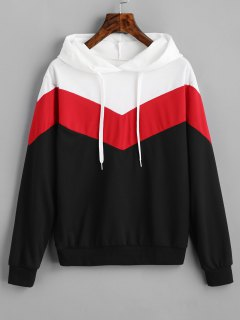 Drop Shoulder Drawstring Contrast Hoodie - Black And White And Red L