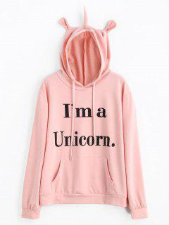 Unicorn Letter Graphic Drawstring Hoodie - Light Pink M