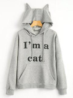 Front Pocket Letter Graphic Cat Hoodie - Gray M
