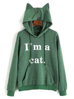 Front Pocket Letter Graphic Cat Hoodie - Green Xs