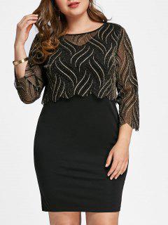 Top Corto Brillante De Talla Grande Con Vestido Ajustado - Negro 4xl