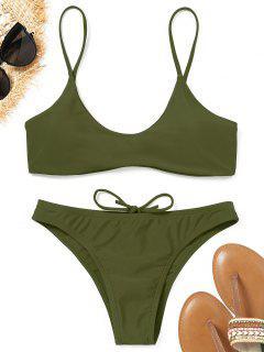 Spaghetti Straps Padded Bikini Set - Army Green M