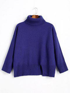 Slit Oversized Turtleneck Sweater - Royal
