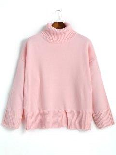 Slit Oversized Turtleneck Sweater - Pink