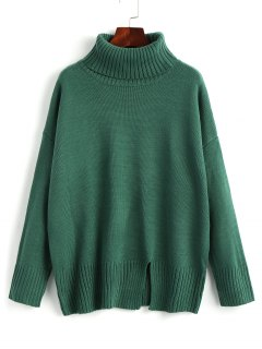 Slit Oversized Turtleneck Sweater - Green