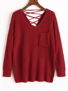 V Neck Lace Up Back Pullover Sweater - Wine Red
