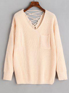 V Neck Lace Up Back Pullover Sweater - Light Apricot