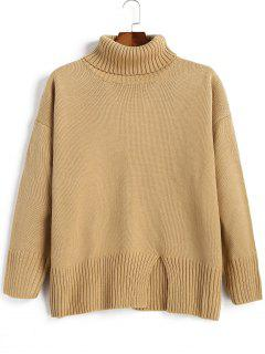 Slit Oversized Turtleneck Sweater - Camel