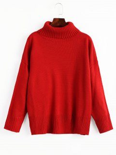 Slit Oversized Turtleneck Sweater - Red