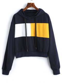 Drawstring Color Block Cropped Hoodie - Purplish Blue M