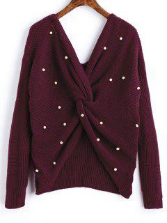 Suéter Perlado Con Cuello En V - Vino Rojo