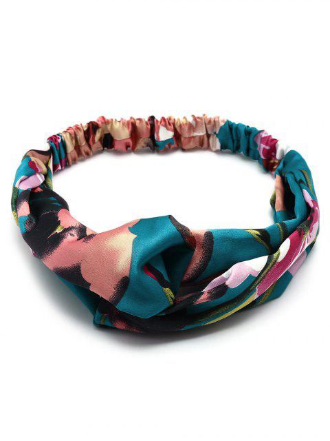 sale Flower Print Multi Use Elastic Hair Band - BLUE  Mobile