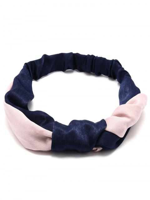 women Vintage Velvet Two Tone Elastic Hair Band - CADETBLUE  Mobile