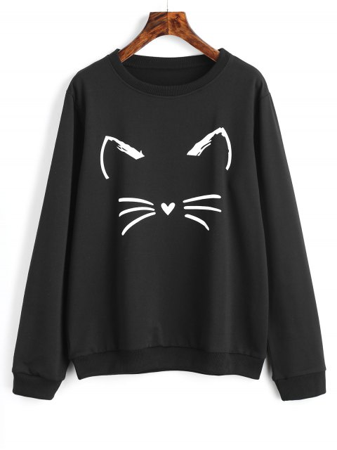 chic Cute Cat Graphic Sweatshirt - BLACK S Mobile