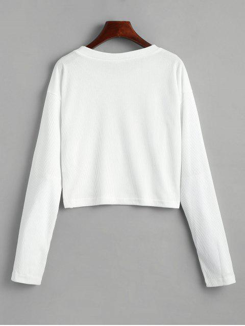 fancy Floral Applique Ribbed Cropped T-shirt - WHITE M Mobile