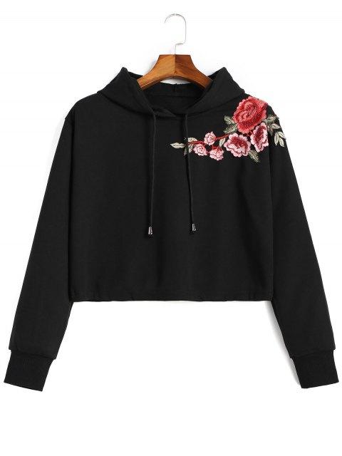 Sweat à Capuche avec Broderie Florale - Noir S Mobile