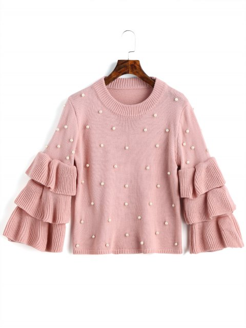fashion Layered Sleeve Faux Pearls Sweater - PINK ONE SIZE Mobile