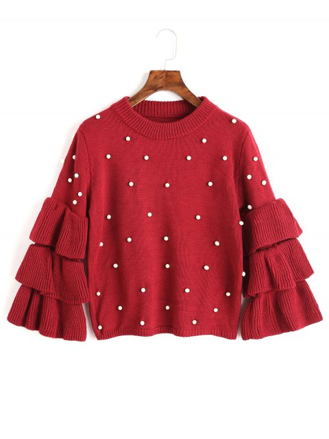 chic Layered Sleeve Faux Pearls Sweater - RED ONE SIZE Mobile