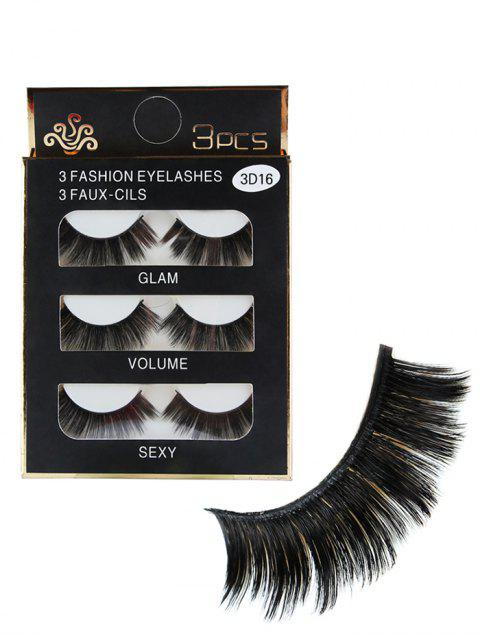 3pcs Glam Volume Sexy Makeup Faux Eyelashes - Negro  Mobile