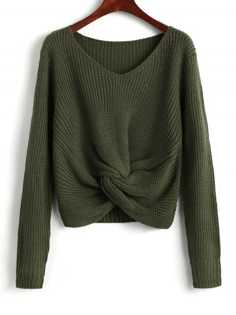 unique V Neck Twist Chunky Sweater - ARMY GREEN ONE SIZE Mobile
