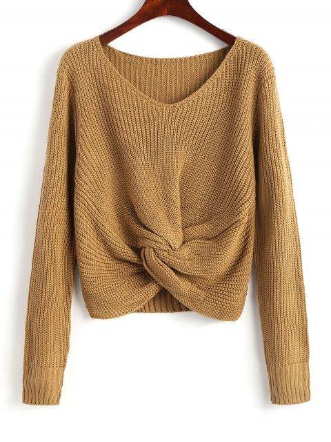 Chunky Pullover mit V-Ausschnitt und Twist - Khaki Eine Größe Mobile