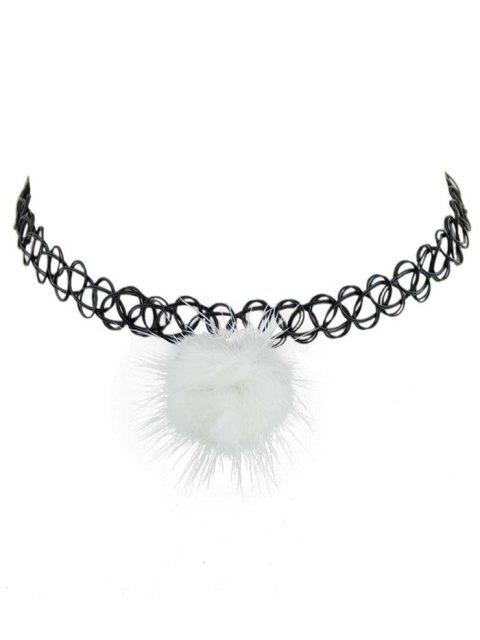 chic Elasticity Pompon Hollow Out Choker Necklace - WHITE  Mobile