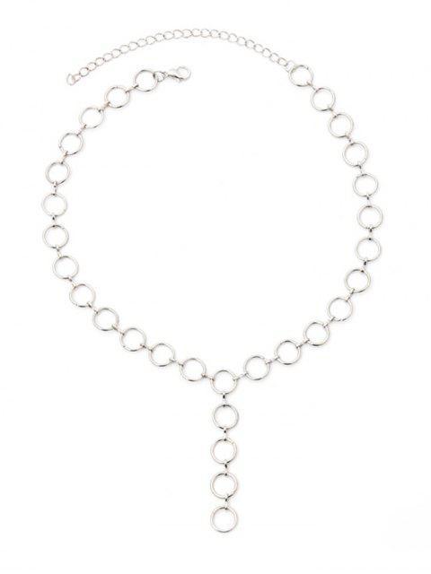 Collar de Cadenas de Metal de Círculo Pequeño - Plata  Mobile
