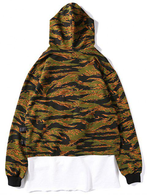 chic High Low Layered Camo Hoodie - CAMOUFLAGE S Mobile