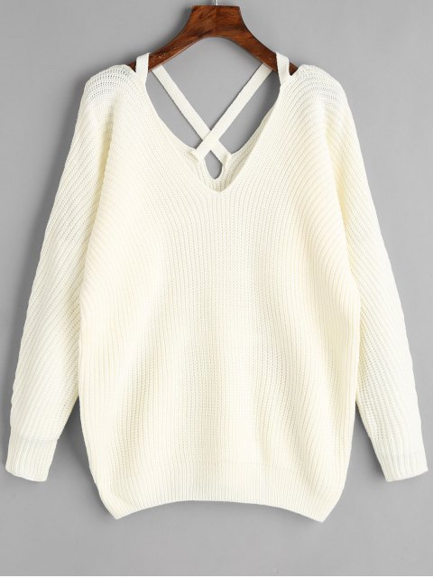womens V Neck Criss Cross Pullover Sweater - WHITE ONE SIZE Mobile