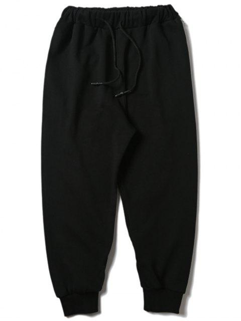 lady Drawstring Zipper Sports Pants - BLACK M Mobile