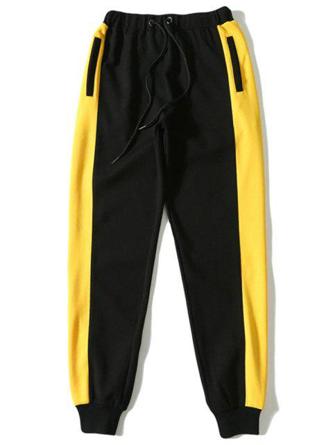 outfits Contrast Color Drawstring Sports Pants - BLACK L Mobile