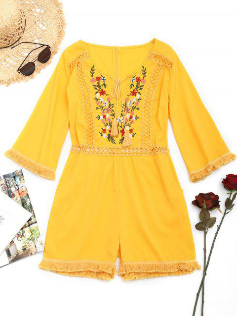 lady Crochet Panel Floral Patched Tassels Romper - YELLOW S Mobile