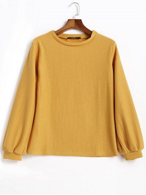 Sweat-shirt Côtelé à Manches Lanternes - Moutarde  S Mobile