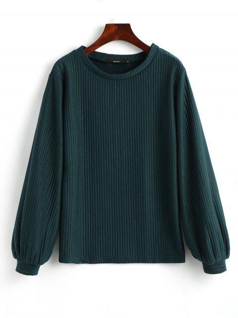 lady Lantern Sleeve Ribbed Sweatshirt - MALACHITE GREEN L Mobile