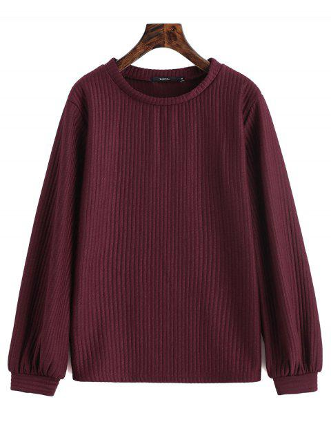 lady Lantern Sleeve Ribbed Sweatshirt - WINE RED M Mobile