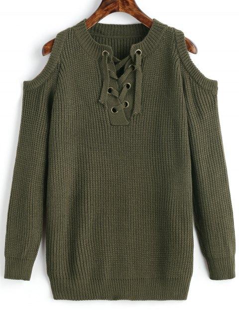 Suéter grueso con hombros fríos con cordones - Verde del ejército Única Talla Mobile
