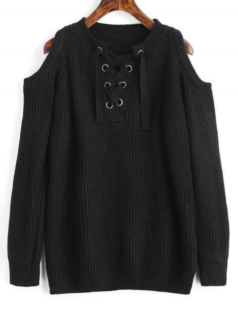 Pull Épais Lacé Épaules Ouvertes - Noir Taille Unique Mobile
