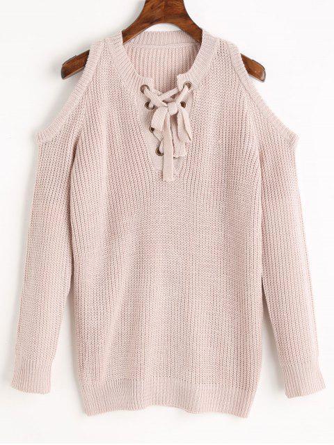 Chunky Pullover mit Schnürsenkel und Kalter Schulter - pinkbeige Eine Größe Mobile