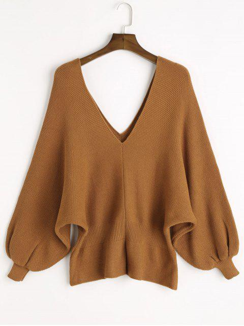 outfits V Neck Slit Batwing Sleeve Sweater - CAMEL ONE SIZE Mobile