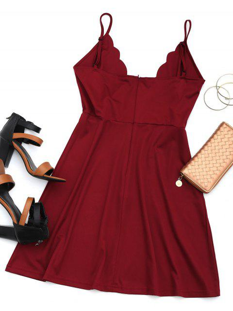 online Cut Out Scalloped Mini Dress - WINE RED M Mobile