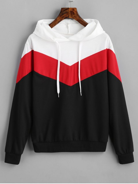 affordable Drop Shoulder Drawstring Contrast Hoodie - BLACK AND WHITE AND RED S Mobile