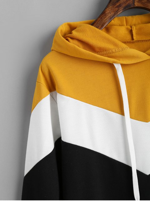 outfits Drop Shoulder Drawstring Contrast Hoodie - MULTI L Mobile