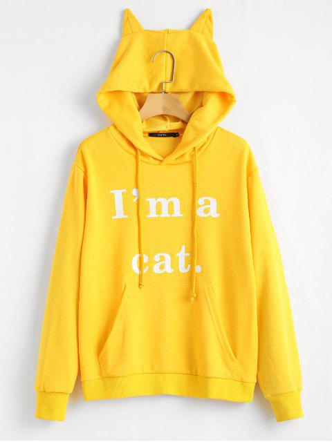 fashion Front Pocket Letter Graphic Cat Hoodie - YELLOW S Mobile