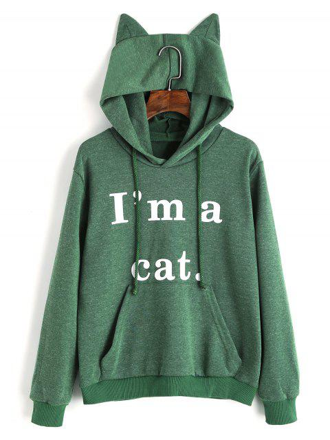 ladies Front Pocket Letter Graphic Cat Hoodie - GREEN XS Mobile
