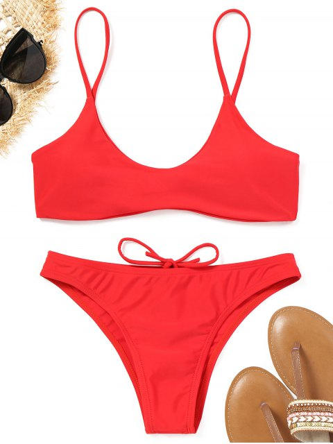 buy Spaghetti Straps Padded Bikini Set - RED L Mobile