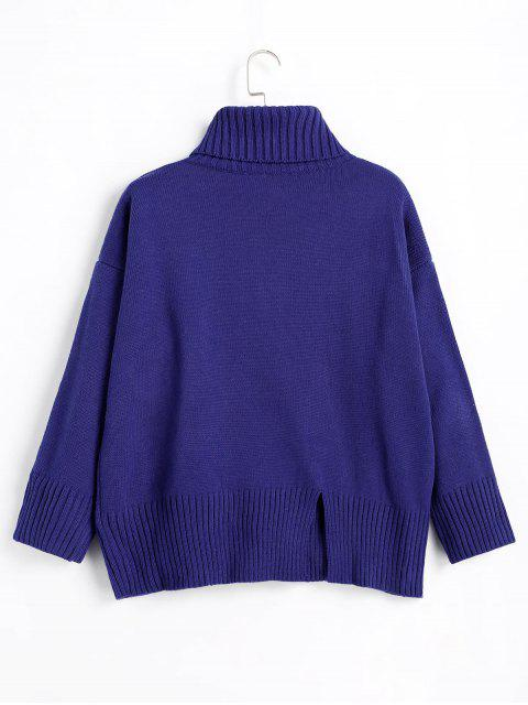fancy Slit Oversized Turtleneck Sweater - ROYAL ONE SIZE Mobile