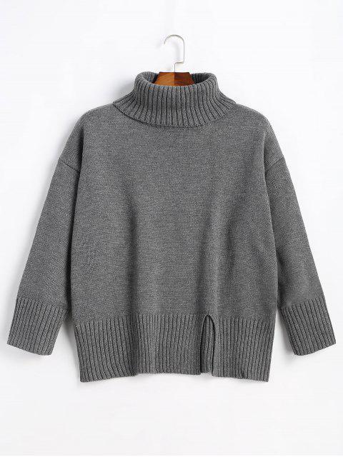 womens Slit Oversized Turtleneck Sweater - DEEP GRAY ONE SIZE Mobile