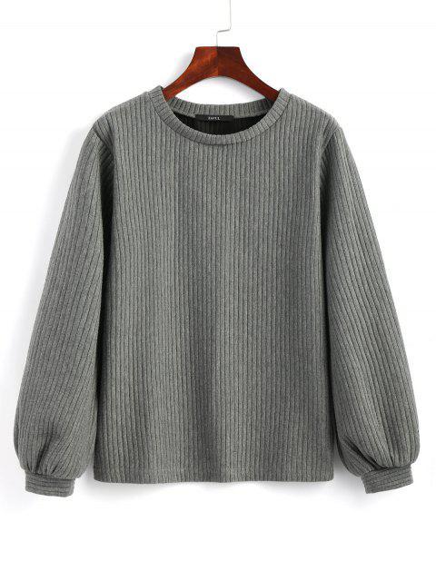 buy Lantern Sleeve Ribbed Sweatshirt - DEEP GRAY S Mobile